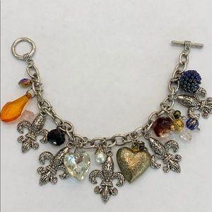 Fleur de lis Charm Bracelet Vintage one of a Kind